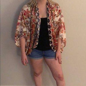 Multi color floral cardigan
